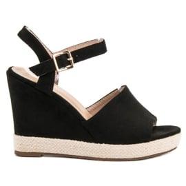 Best Shoes Czarne Sandałki