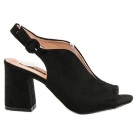 Milaya czarne Zabudowane Sandały