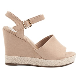 Best Shoes brązowe Beżowe Sandałki