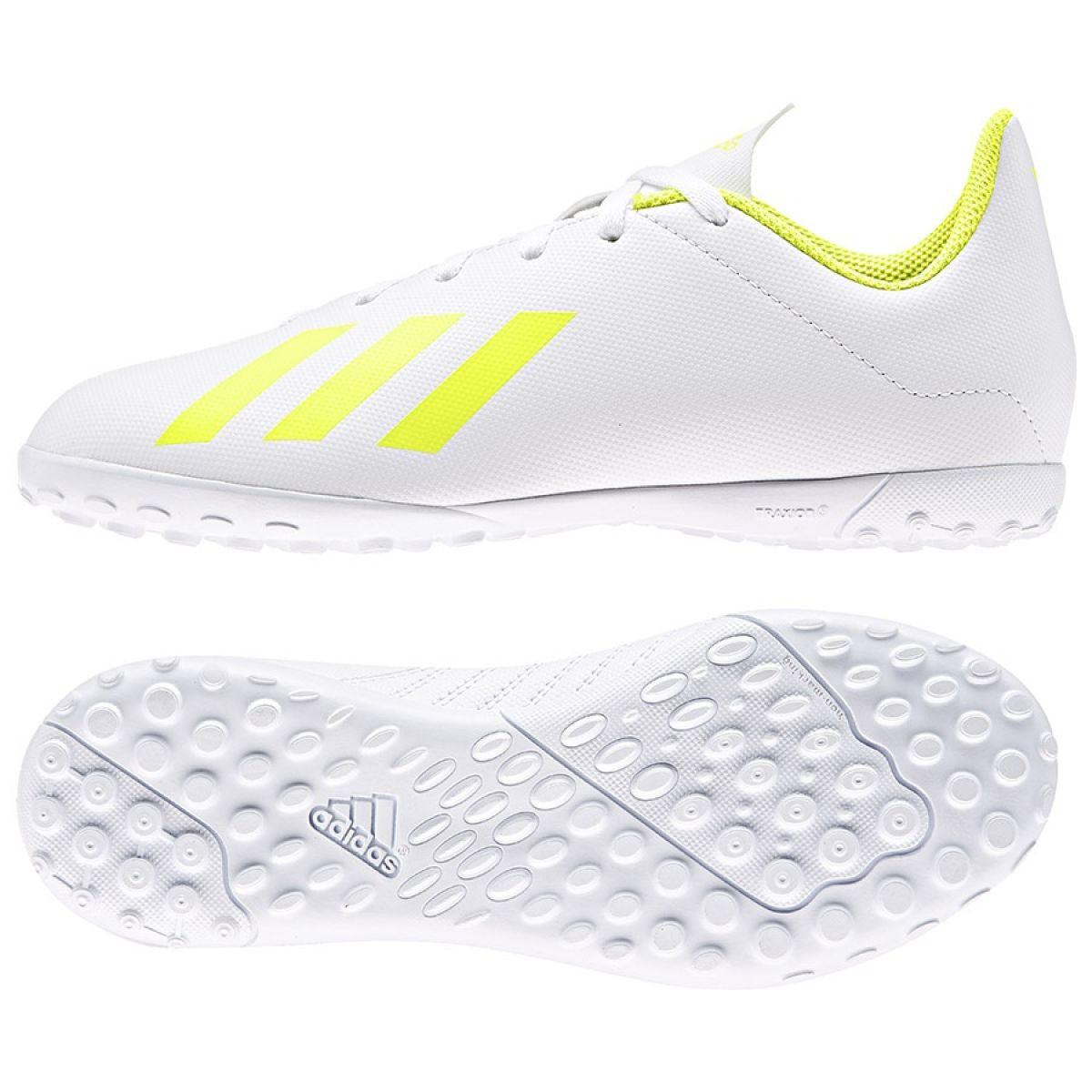 Buty piłkarskie adidas X 18.4 Tf Jr BB9418 białe biały, żółty
