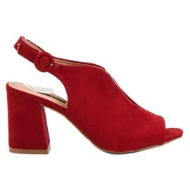 Milaya czerwone Stylowe Zabudowane Sandały