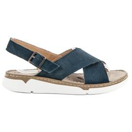Filippo niebieskie Skórzane Sandały Na Platformie