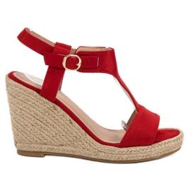 Anesia Paris czerwone Modne Sandały Na Koturnie