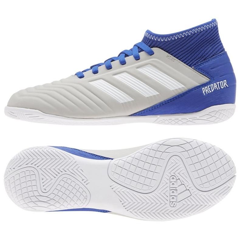 Buty halowe adidas Predator 19.3 In Jr CM8545 szare niebieski, szary/srebrny