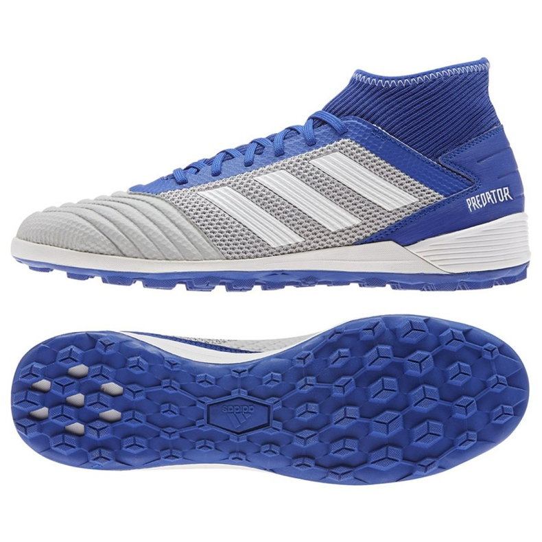 Buty piłkarskie adidas Predator 19.3 Tf M BC0555 niebieskie czarny, niebieski, szary/srebrny