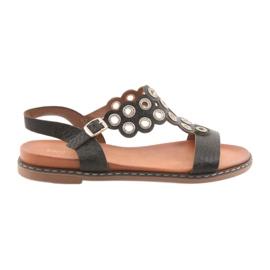 Sandały damskie czarne cyrkonie Sergio Leone