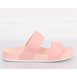 Klapki z gumowymi paskami różowe CK66P Pink