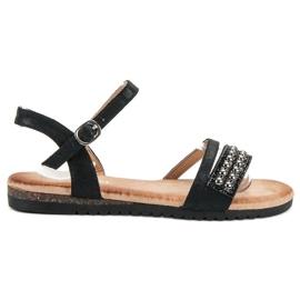 Groto Gogo czarne Sandałki Z Brokatem