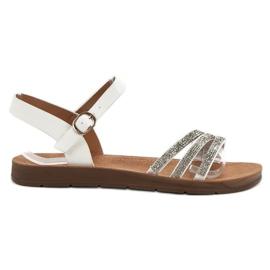 Camo białe Płaskie Sandały Z Cyrkoniami