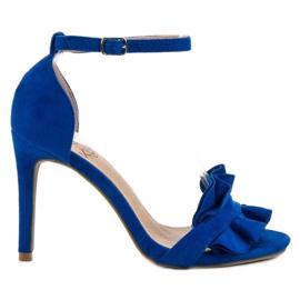 Kylie niebieskie Sandały Na Szpilce Z Falbanką