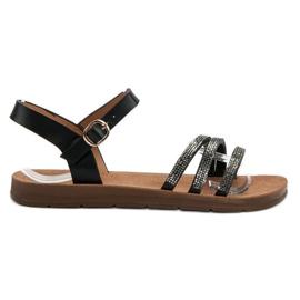 Camo czarne Płaskie Sandały Z Cyrkoniami