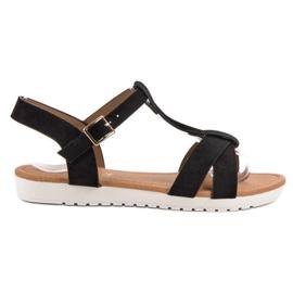 EXQUILY czarne Klasyczne Zamszowe Sandały