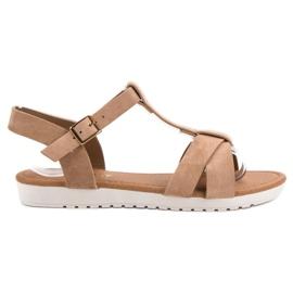 EXQUILY brązowe Klasyczne Zamszowe Sandały