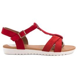 EXQUILY czerwone Klasyczne Zamszowe Sandały