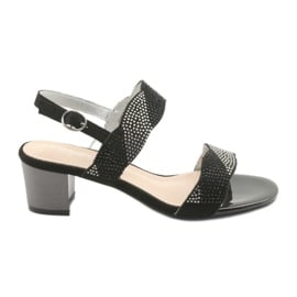 Czarne Sandały na słupku Sergio Leone SK795