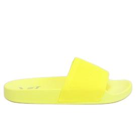 Klapki z dzianinowym paskiem żółte PT-110 Yellow