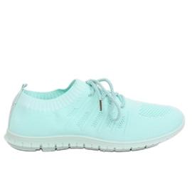 Niebieskie Buty sportowe błękitne B111-10 Mint Green