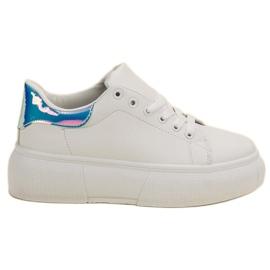 Renda Białe Buty Na Platformie