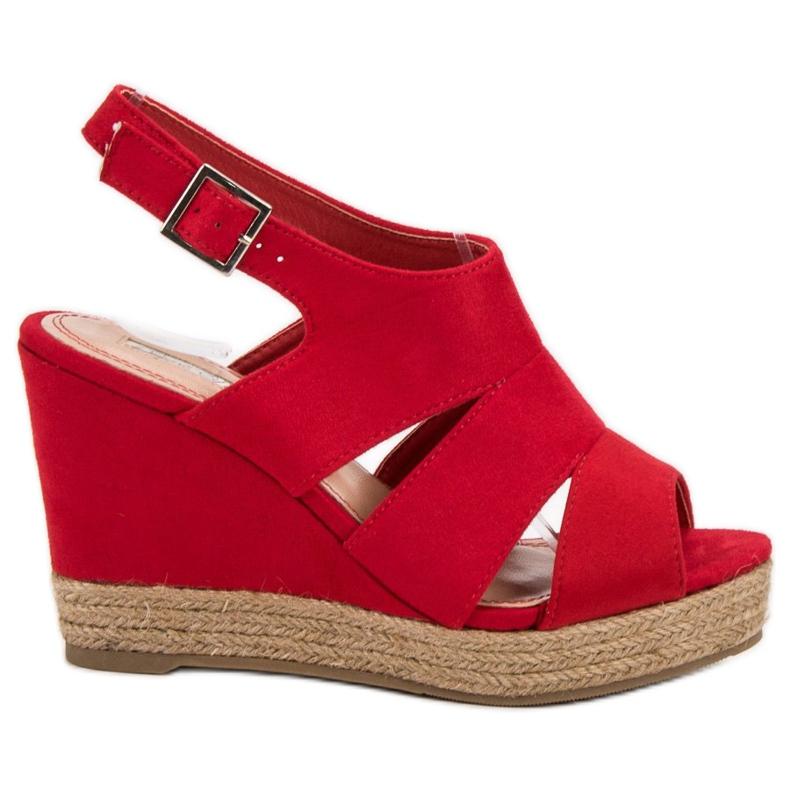 Best Shoes Czerwone Sandały Espadryle