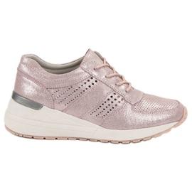 Filippo różowe Skórzane Sneakersy Na Koturnie