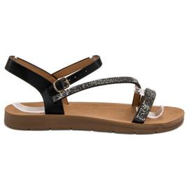 Camo czarne Sandałki Z Cyrkoniami