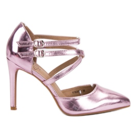 Kylie Błyszczące Szpilki Fashion różowe