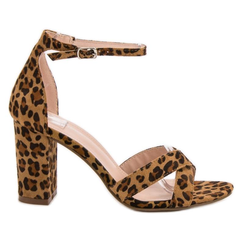 Ideal Shoes Sandałki Na Słupku brązowe