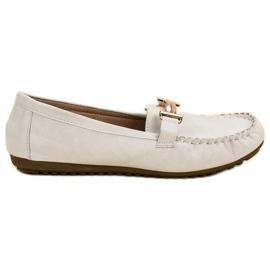 Top Shoes Białe Mokasyny Damskie