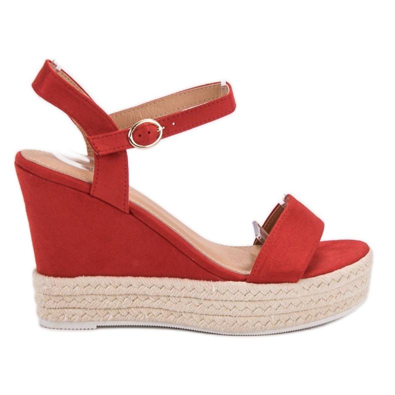 Ideal Shoes Stylowe Sandałki Na Koturnie czerwone