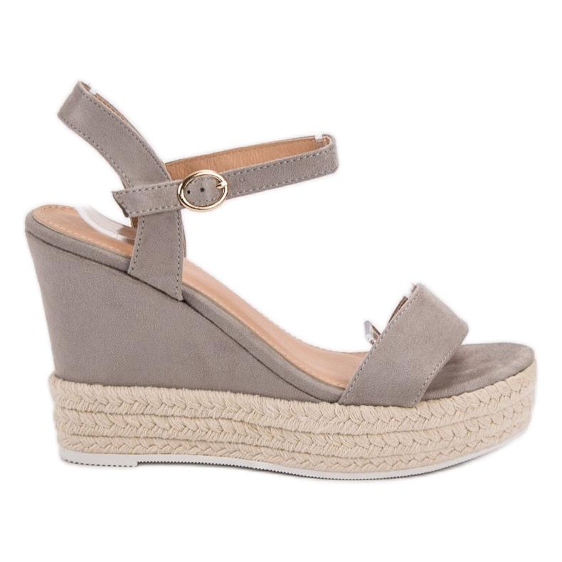Ideal Shoes szare Stylowe Sandałki Na Koturnie