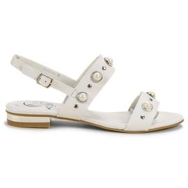 Kylie białe Wygodne Płaskie Sandały