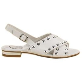 Kylie Białe Sandały Zapinane Na Sprzączkę