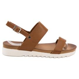 Best Shoes brązowe Camelowe Sandały Płaskie