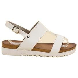 Best Shoes Białe Sandały Płaskie