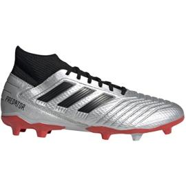 Buty piłkarskie adidas Predator 19.3 Fg M F35595 srebrny czerwone