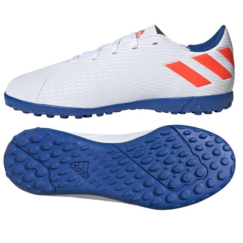 Buty piłkarskie adidas Nemeziz Messi 19.4 Tf Jr F99929 białe wielokolorowe