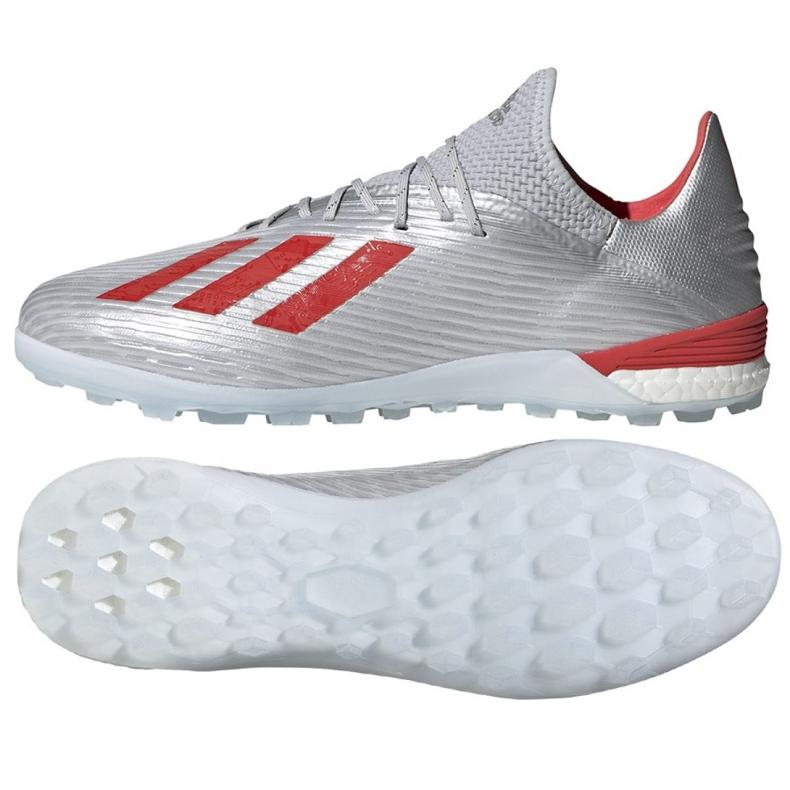 Buty piłkarskie adidas X 19.1 Tf M G25752 czerwony, szary/srebrny srebrny