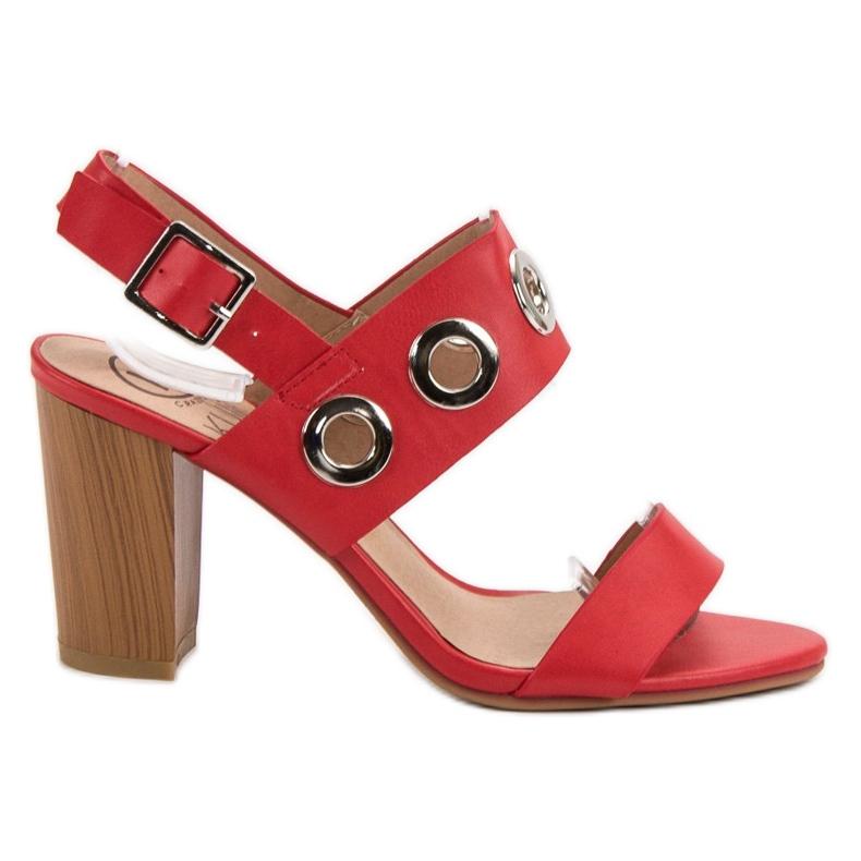 Kylie Czerwone Sandałki Na Obcasie