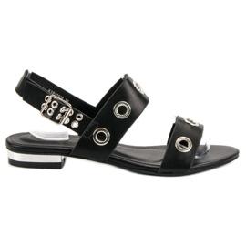 Kylie Casualowe Czarne Sandały