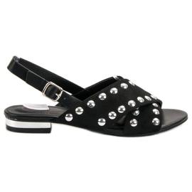 Kylie Czarne Sandały Zapinane Na Sprzączkę