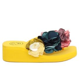 Klapki na piankowej podeszwie żółte FM5050 Yellow