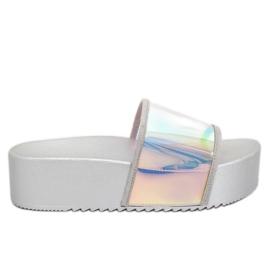 Szare Klapki holograficzne srebrne CK81P Silver