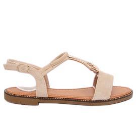 Sandałki damskie beżowe WL024 Beige brązowe