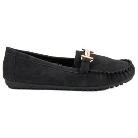 Top Shoes Czarne Mokasyny Damskie