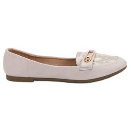 Top Shoes Stylowe Baleriny szare