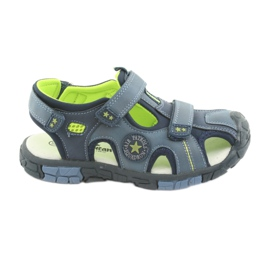 American Club Buty dziecięce sandałki z wkładką skórzaną American DR02 granatowe niebieskie zielone