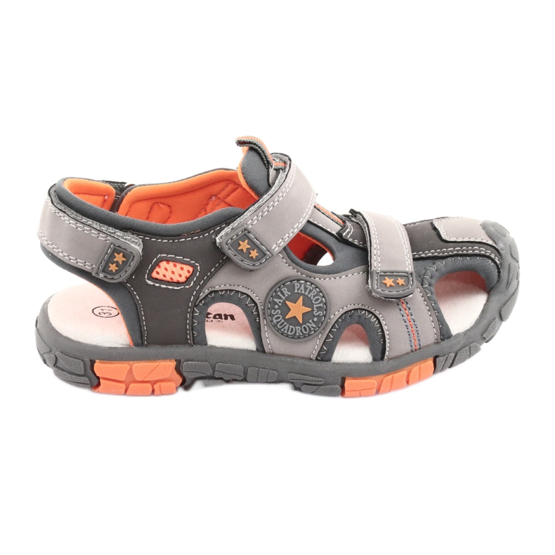 American Club Buty sandałki z wkładką skórzaną American DR02 brązowe pomarańczowe szare