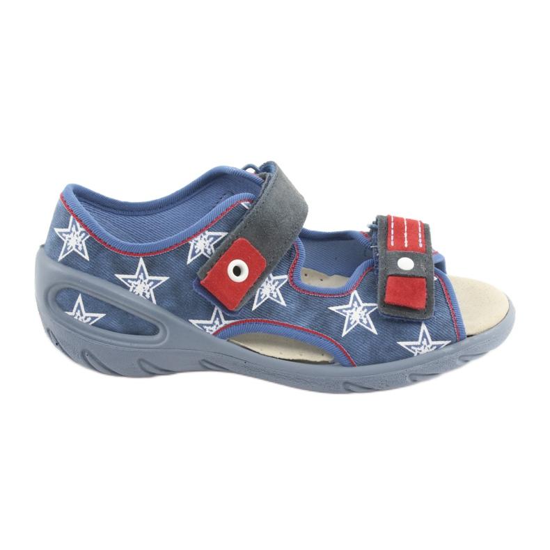 Befado obuwie dziecięce pu 065X119 białe czerwone niebieskie