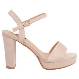 Sandałki na platformie beżowo-różowe HJ101 Pink
