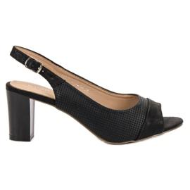 Evento Eleganckie Czarne Sandały
